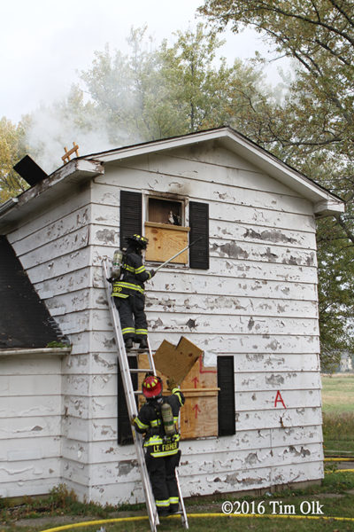 firefighters training in vacant house