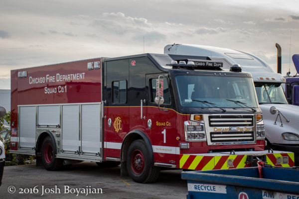 Chicago FD Squad 1 built by Rosenbauer America