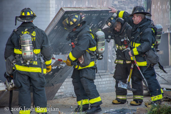 firefighters at a fire scene