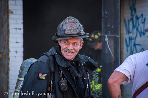 Chicago firefighter after a fire