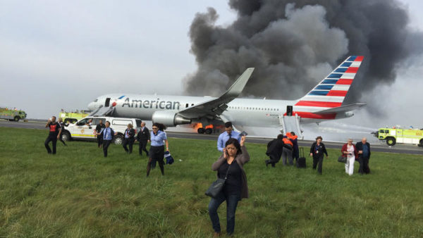 American Airlines jet burns on O'Hare runway