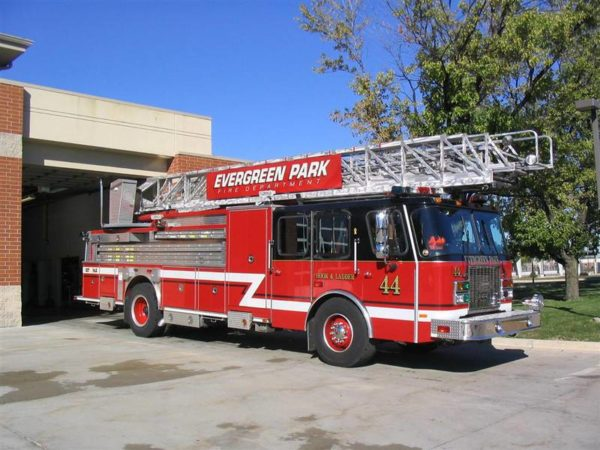 Evergreen Park Fire Department E-ONE ladder truck for sale.
