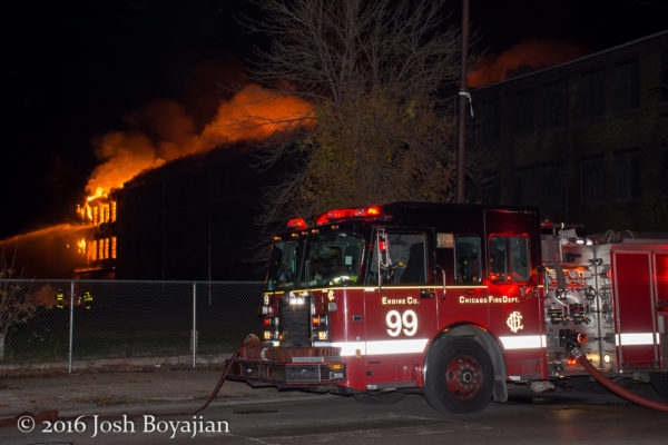 Chicago FD Engine 99 at a massive warehouse fire in Chicago