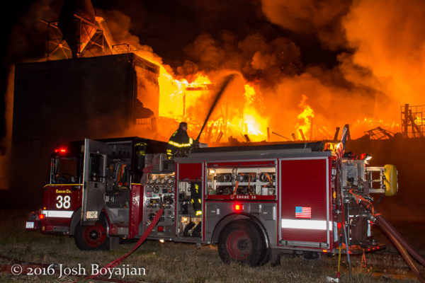 Chicago FD Engine 38 at a massive warehouse fire in Chicago