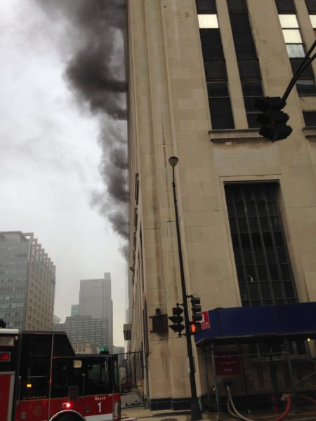 smoke from old Post Office building in CHicago