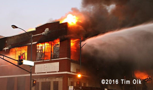 massive warehouse fire in Chicago