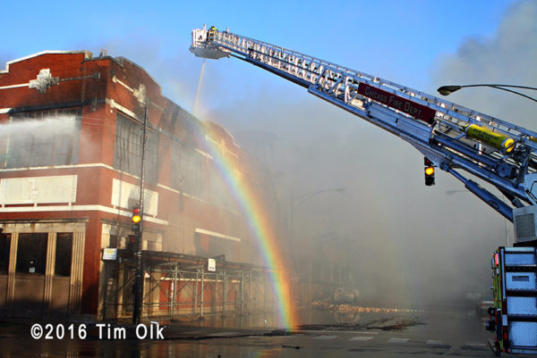 rainbow at fire scene