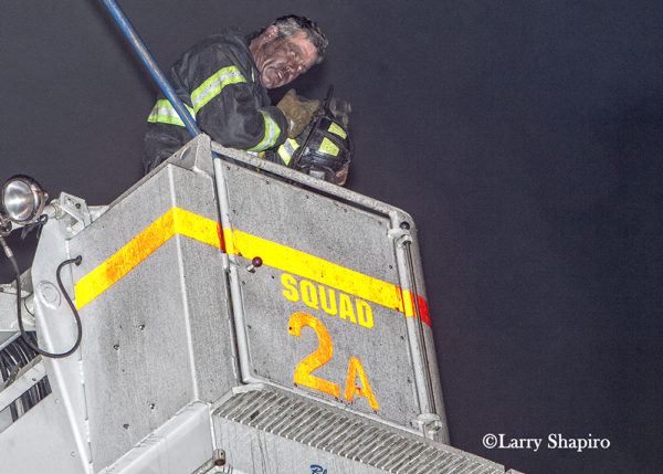 Firefighter with dirty face in Chicago FD Squad 2A