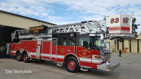 2016 Pierce Velocity aluminum tower ladder for Schaumburg FD Truck 53