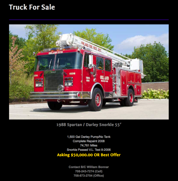 Orland Fire Protection District Snorkel for sale