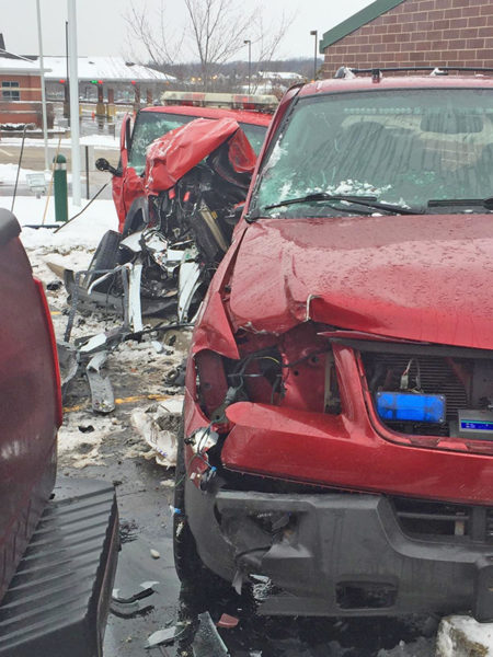New Lenox FPD vehicles hit by pickup truck
