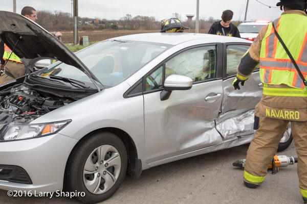 side impact air bags inflated at crash