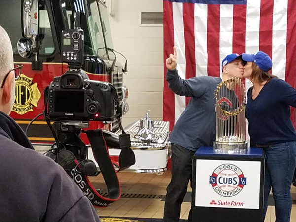a photo op with the the World Series championship trophy