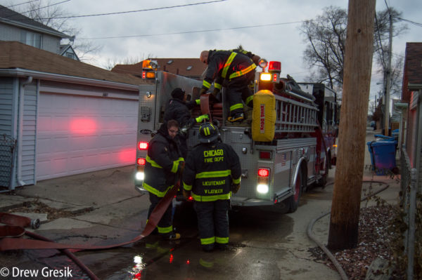 Chicago firefighters with fire engine