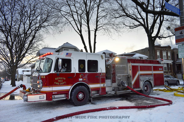 Berwyn FD fire engine on a hydrant