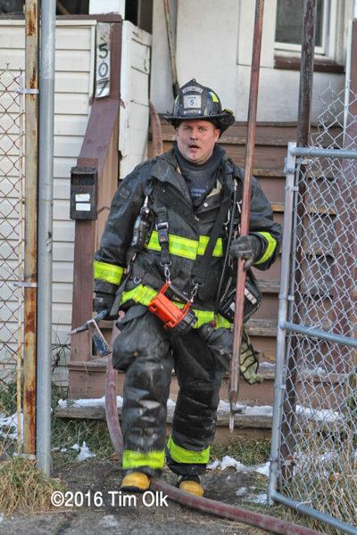 Firefighter after battling a fire
