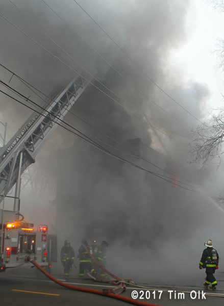 Chicago firefighters battle smokey fire