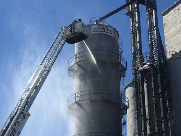 tower ladder at industrial fire