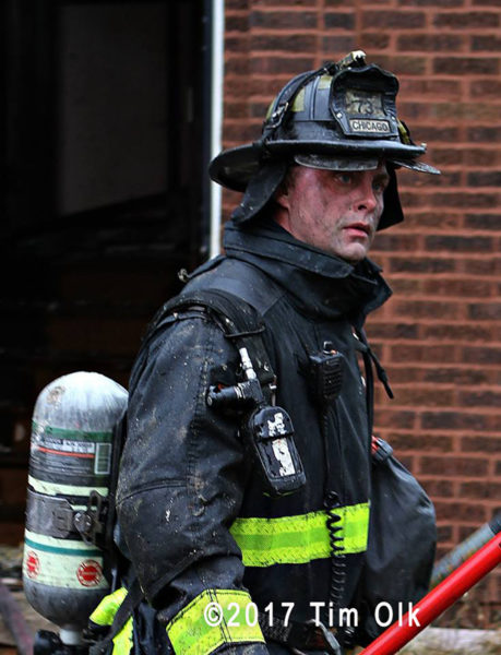 Chicago firefighter after battling a blaze