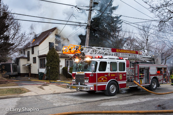 Barrington FD E-ONE quint with lines off at house fire