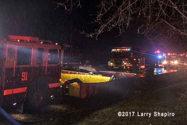 portable tanks for tanker shuttle at fire scene