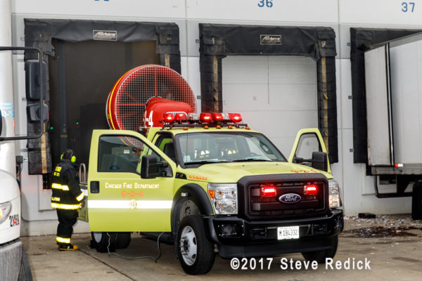 Chicago FD MVU 924 clearing a warehouse of smoke