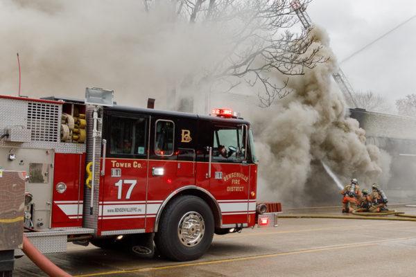 Bensenville fire truck at fire scene