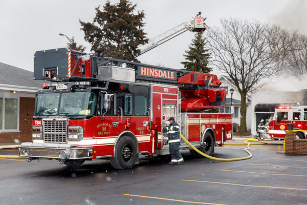 Hinsdale FD tower ladder at a fire scene