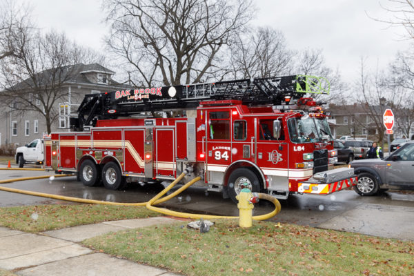 Oak Brook FD quint on a hydrant