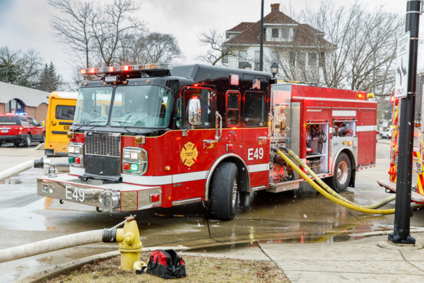 Oakbrook Terrace FPD fire engine on a hydrant