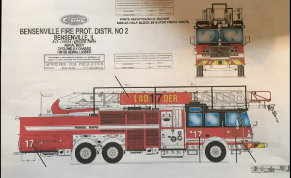 Drawing of new E-ONE fire truck for the Bensenville Fire Protection District No 2 in Illinois