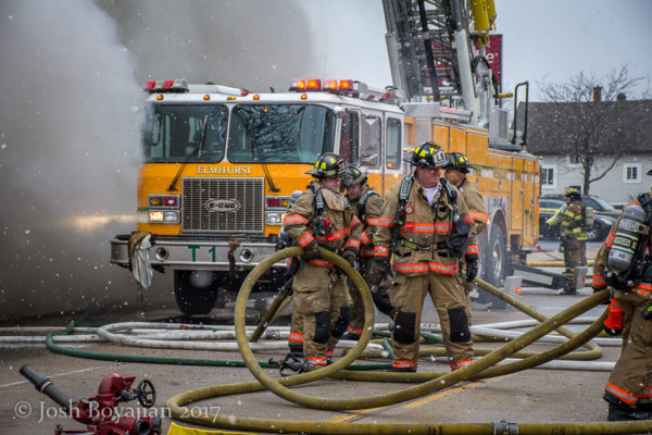 Elmhurst fire truck at fire scene