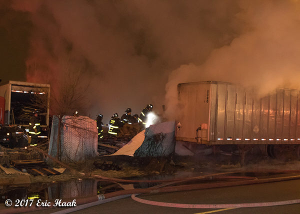 truck yard fire at night
