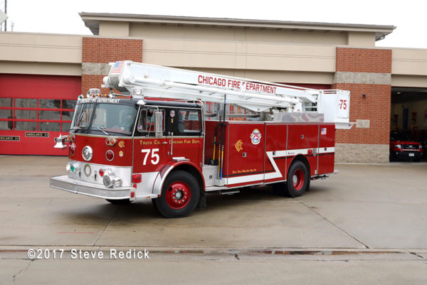 Evergreen Park SS3 lettered as Chicago Truck 75 for the Chicago Fire TV show
