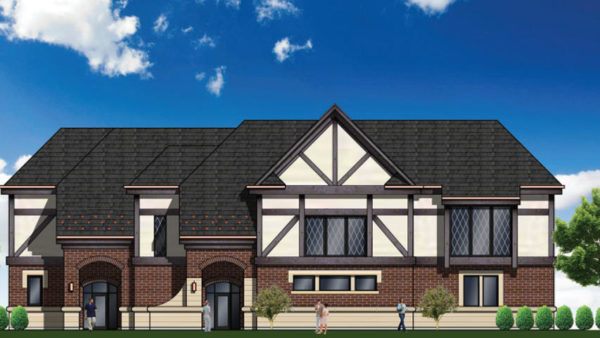 architectural rendering of proposed new fire station for Highland Park IL