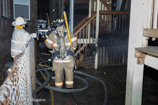 Firefighter after fire in gangway