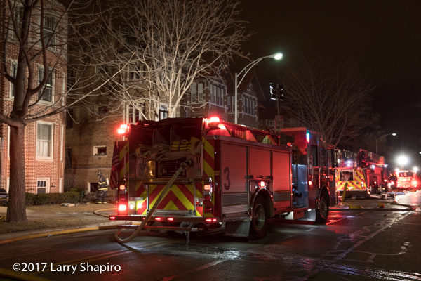 Oak Park HME Arenas Fox fire engine at night fire scene