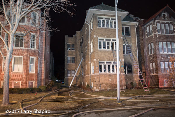 aftermath of apartment building fire in Oak Park