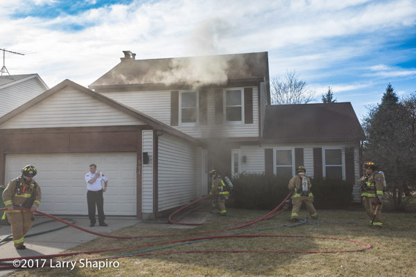 smoke from house fire in Buffalo Grove