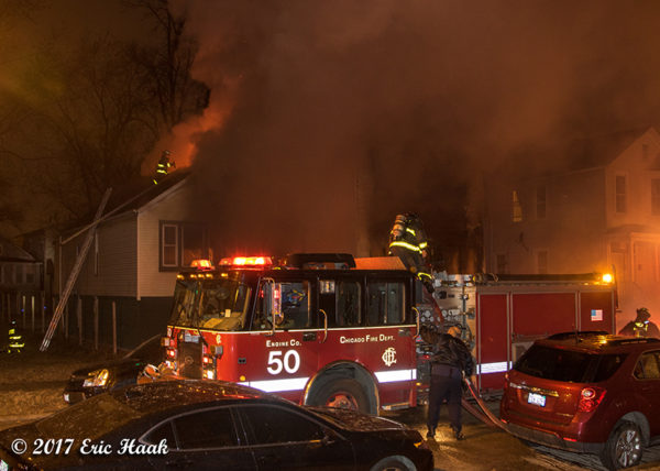 Chicago FD Engine 50 at fire scene