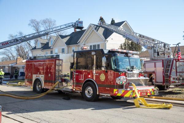 Franklin Park fire engine with hose off