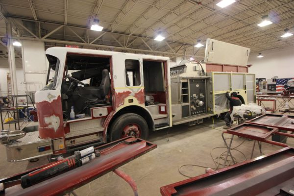 fire engine being repaired