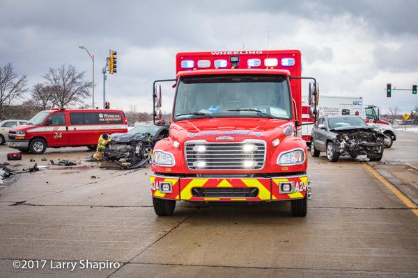 Freightliner M2 ambulance at crash site