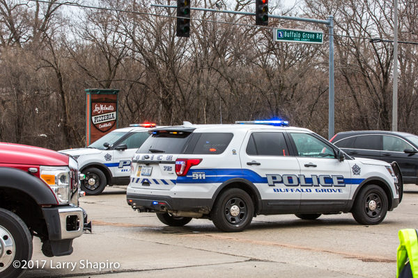 Buffalo Grove police units blocking a street