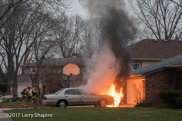 car engulfed in flames