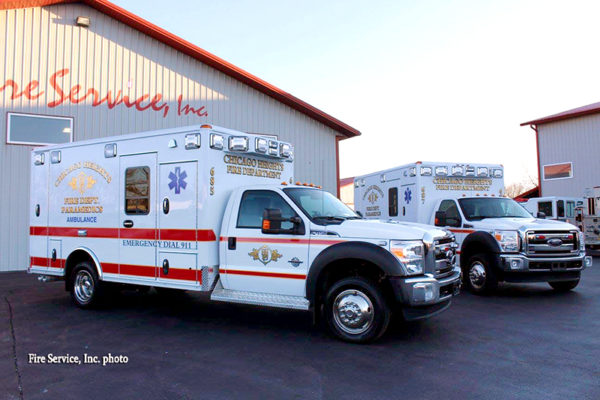 two new ambulances for the Chicago Heights Fire Department