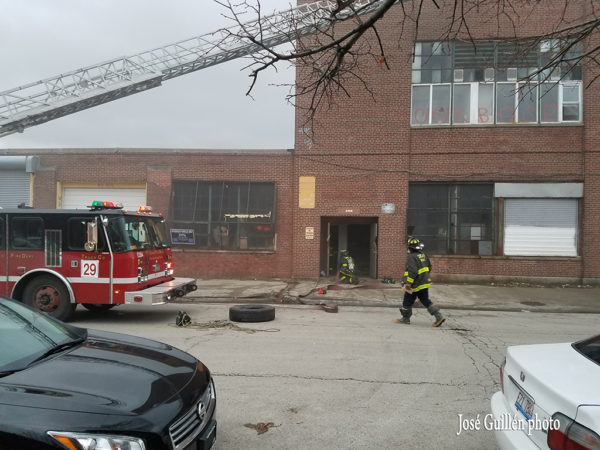 Chicago fire truck at warehouse fire