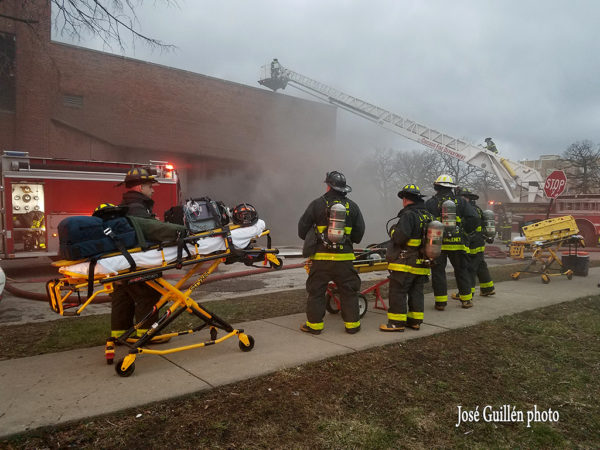RIT team standing by during fire
