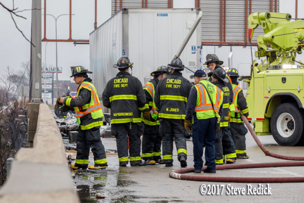 Chicago firefighters at semi crash