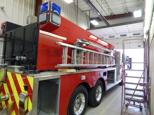 fire truck being buil